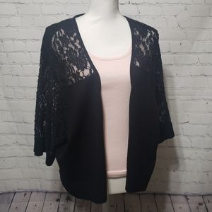 Torrid NWT Sz 5 Black Lace Elbow Sleeve Open Shrug